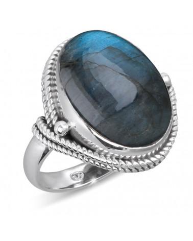 Aden's Jewels-Bague-Cabochon Lapis Lazuli-Chaînage Argent-Bijou Femme