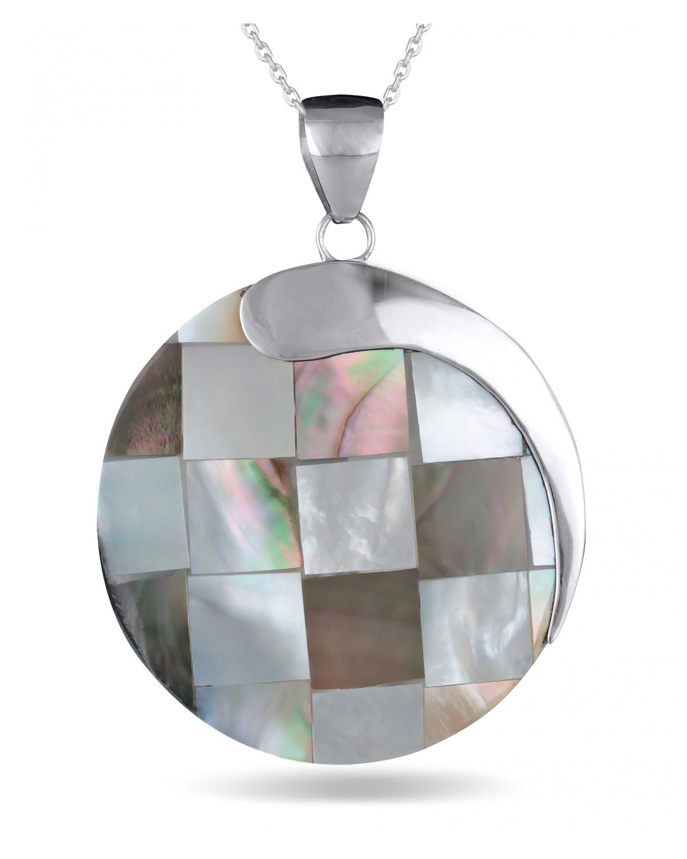 Colgante Madre perla Forma Redonda Plata de Ley 925