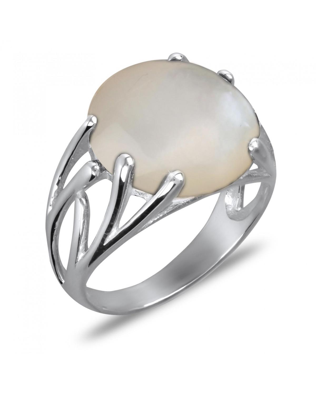 Anillo Madre perla blanca Forma Redonda Plata de Ley 925