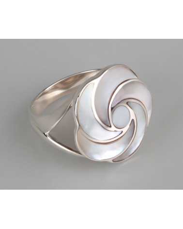 Aden's Jewels-Bague-Forme Fleur en spirale-Nacre Blanche-Argent-Bijou Femme