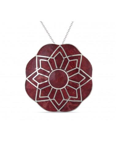 Aden's Jewels – Pendentif – Médaillon Corail Argent – Femme – Rouge – Diamètre 33 mm