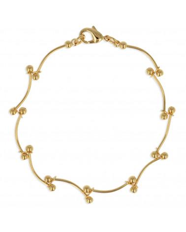 Bracelet camélia plaqué or - 18cm