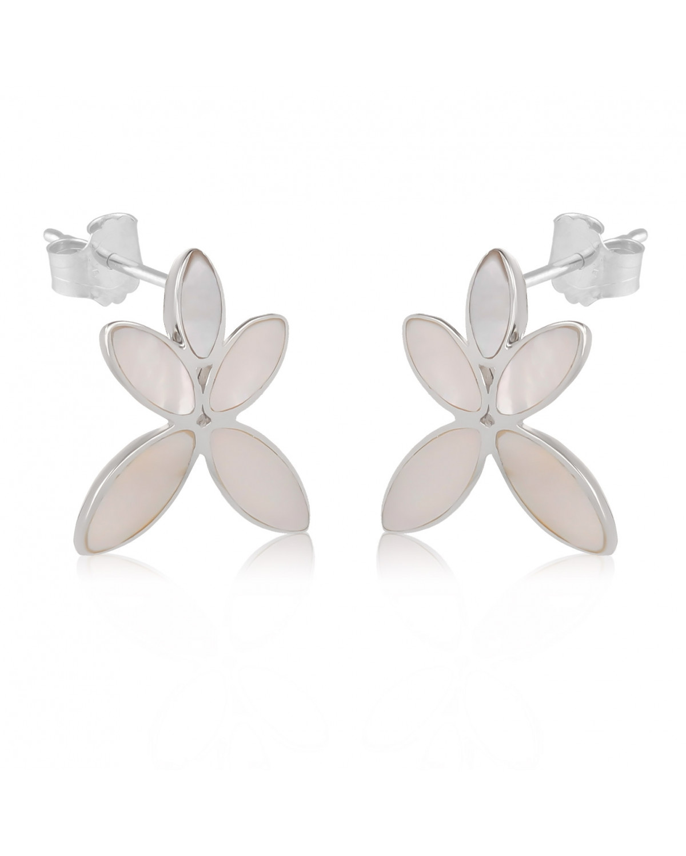 Pendientes Madre perla blanca Flores Plata de Ley 925