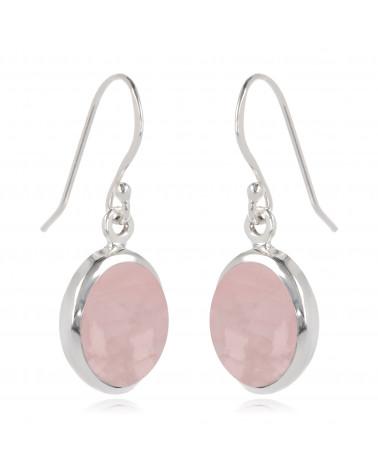Ovalförmige Rosa Quarz-Ohrringe-Sterling  Silber-Damen