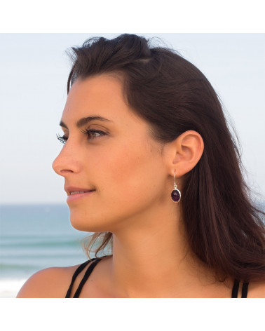 Ovalförmige Amethyst-Ohrringe-Sterling  Silber-Damen
