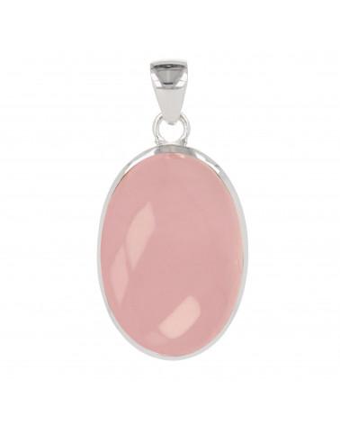 Lithothérapie-Pink Quarz Cabochon Anhänger ovale Form auf Silber Mount-Single Stück