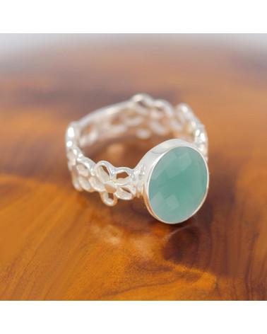 Geschenkidee Mom-Ring - Apatite Stein-Sterling Silber-Frau-grün-Ring Blume