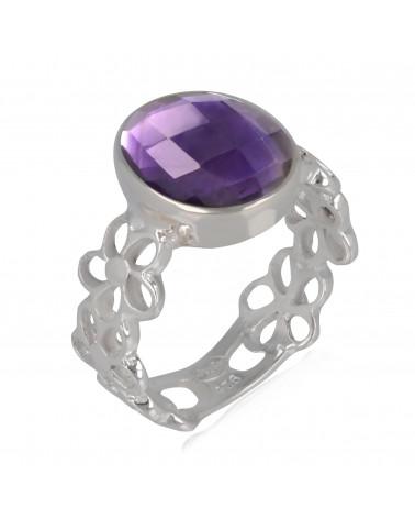 Gift Idea Mom-Ring- amethyst Stone-Sterling Silver-Woman-purple-Ring Flower