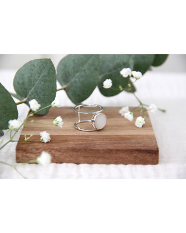 Geschenkideen Frauen Schmuck-Weißer Perlmutt-Ring-Sterling Silber-Runde-Frau