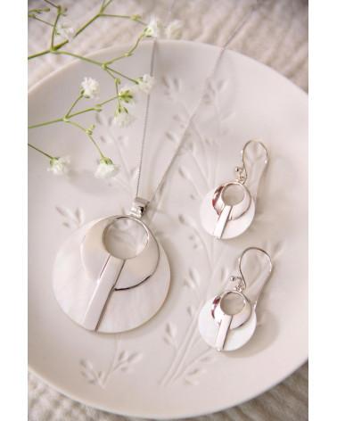 Runder Ohrringe Modegraphik-Perlmutt-Medaillon mit Rhodiumsilber