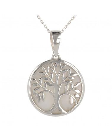 Schmuck-Geschenk-Symbol Baum des Lebens-Anhänger-Weiss Perlmutt-Silber-Rund-Unisex
