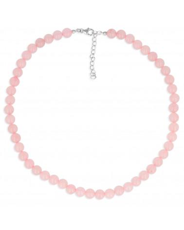 Pulsera elástica de cuarzo rosa rosa para mujer