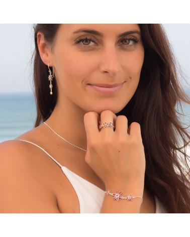 personalisierte Geschenk Frau-Armband- Coral-3 Blumen-Sterling Silber-Frau