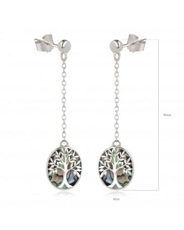 Geschenk Schmuck Symbol Baum des Lebens-Ohrringe- Abalone Perlmutt- Sterling Silber-Oval-Frau