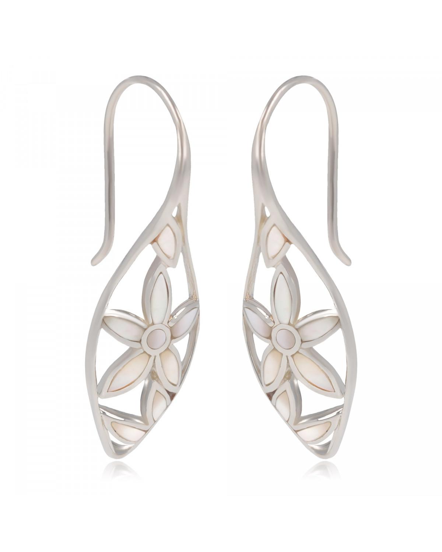 Boucles d'oreille Nacre Blanche motifs pétales de Fleurs Argent 925 millième rhodié