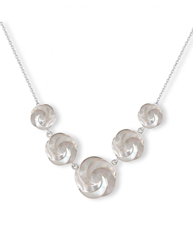 925 Sterlingsilber Perlmutt Weiss Blumen Halskette