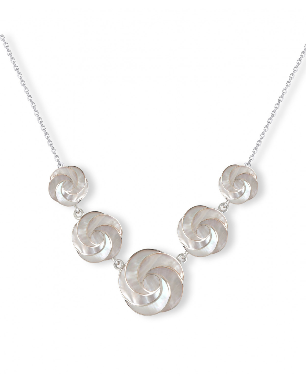 Collar Madre perla blanca Flores Plata de Ley 925