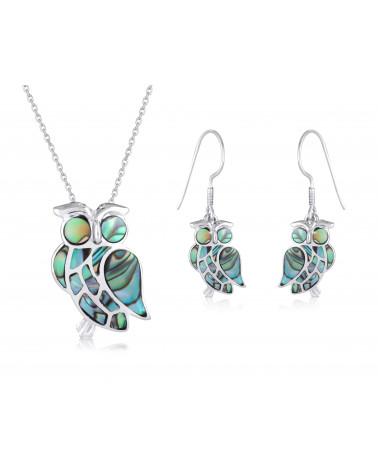 Ohrringe aus Eule mit abalone Perlmutt und Silber 925er Rhodium