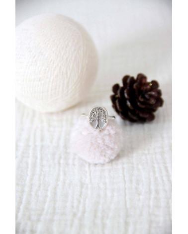 Geschenk Schmuck Symbol Baum des Lebens-Ringe -Weiss Perlmutt Sterling Silber-Oval-Frau