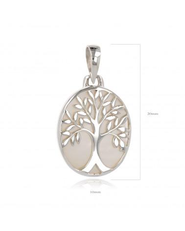 Geschenk Schmuck Symbol Baum des Lebens-Anhänger -Weiss Perlmutt Sterling Silber-Oval-Frau
