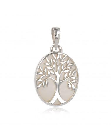 Simbolo di gioielli regalo Albero della vita Ciondolo Bianco madreperla Argento ovale Donna
