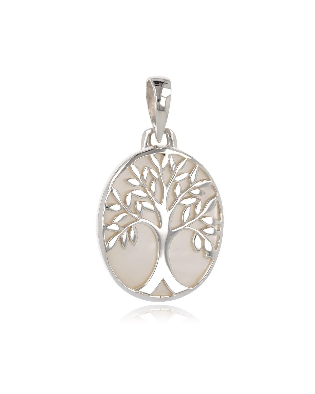 925 Sterlingsilber Perlmutt Weiss Baum des Lebens Ovale Form Anhänger