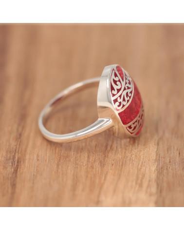 Rot Koralle ring mit SilberRüschen