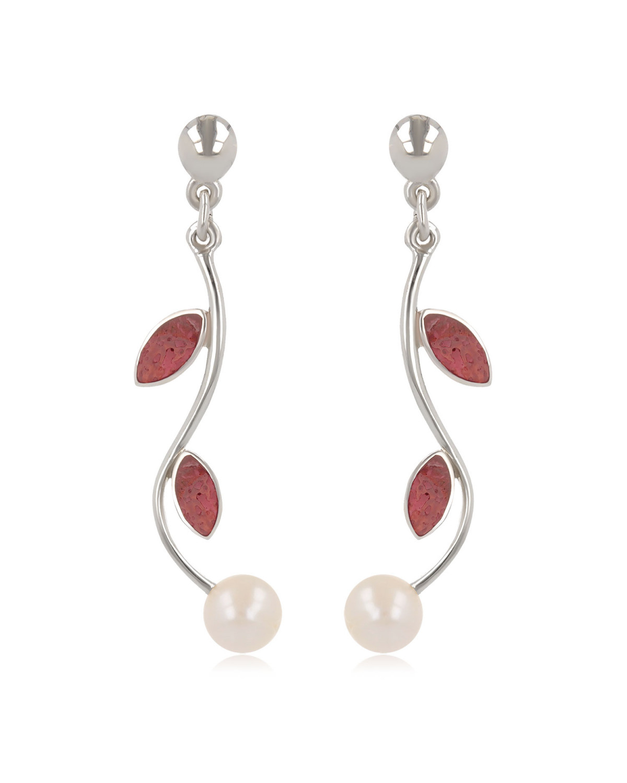 925 Sterlingsilber Koralle und White Pearl Ohrringe