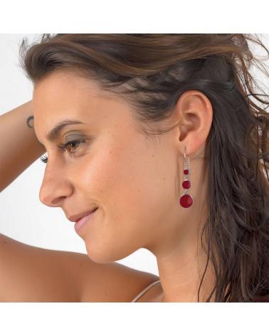 Geschenkschmuck 3 Cabochons Ohrhänger Perlmutt Weiß Sterling Silber ovale Form aus massivem Silber Frau