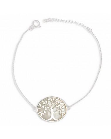 Joyería Regalo Mujer Pulsera Madre de perla Plata esterlina blanca Rodio Árbol de la vida Forma Mujer de plata esterlina oval
