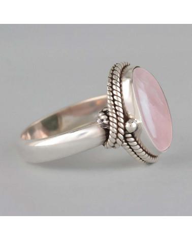 Ring in rosa Quarz mit silberner Kragen 925-000