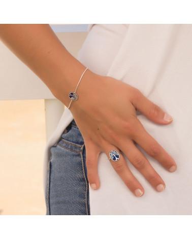 Geschenk Schmuck Symbol Baum des Lebens-Ringe - Lapis Lazuli- Sterling Silber-Oval-Frau
