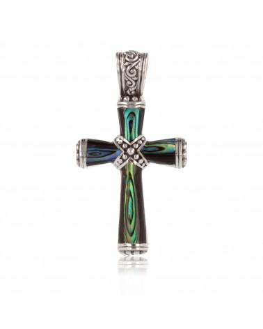 Colgante de abulón de nácar en forma de cruz con plata de ley 925 de rodio