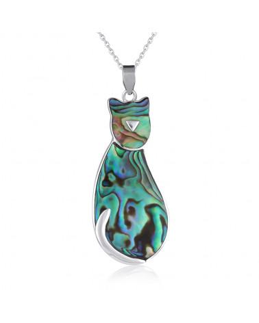 Abalone Perlmuttanhänger, besetzt mit Silber in Form einer Katze