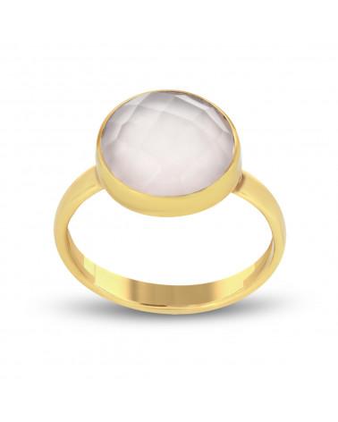 Pendientes de piedra labradorita de forma redonda en baño de oro