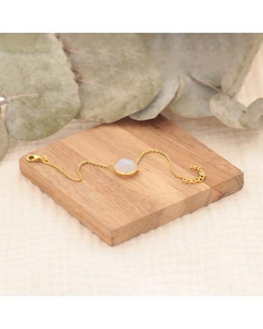 Pulsera de piedra de labradorita forma redonda en chapado en oro