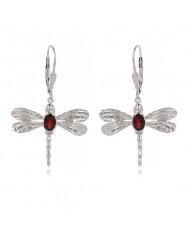 Ciondolo in argento sterling gioielli idea regalo e pietra sfaccettata color granata colore rosso Dragonfly Woman