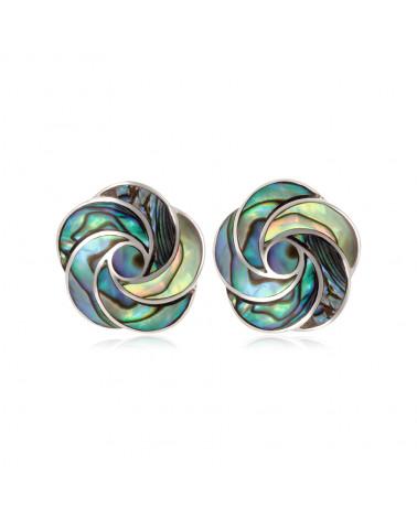 925-mil. Rhodium-weiße Perlmutt-Ohrringe Blütenform Weiße Frau