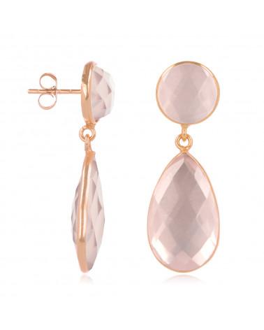 Ohrringe aus vergoldetem 925 Sterling Silber mit facettiertem rosa Quarz