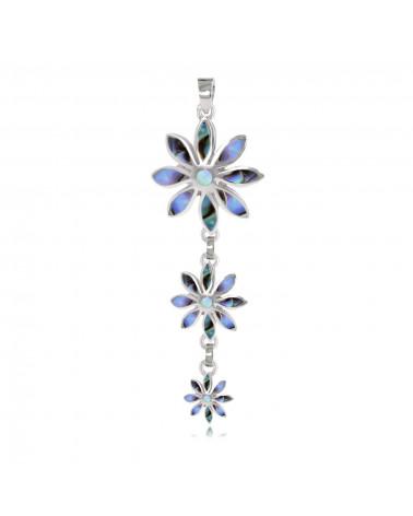 Colgante de abulón de plata esterlina 925 3 flores