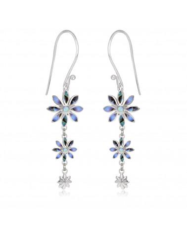 personalisierte Geschenk Frau-Ohrringe Abalone Perlmutt-3 Blumen-Sterling Silber-Frau