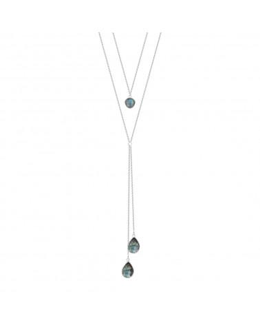 925 Sterlingsilber Facettierte Labradorite Halskette ADEN - 1