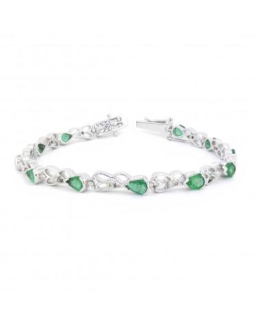 925 Sterling Silver Emerald Diamonds Bracelet