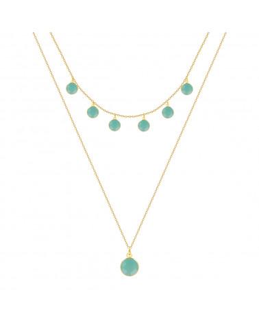 Vergoldet 925 Sterlingsilber Facettierte Amazonit Rund Form Halskette