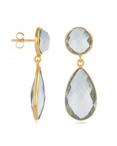 Ohrringe aus Smaragd und Mondstein, Fassung aus 925er Sterlingsilber, feinvergoldet