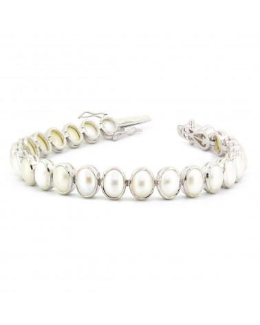 925 Sterlingsilber Perle ovale Form Armbund