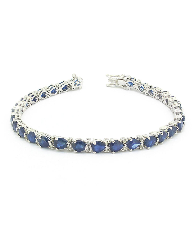 Pulsera Zafiro Diamantes Plata de Ley 925