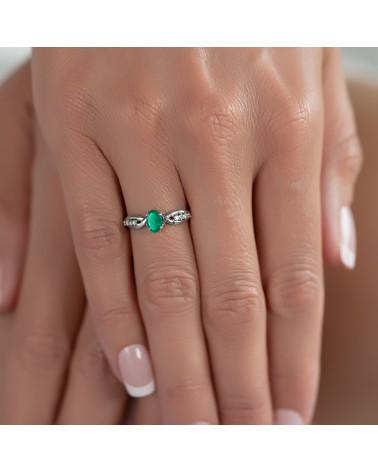 Verlobungsring-Zwei echte Sapphire Steine und Doppel-Rhodium-Silber-Ring