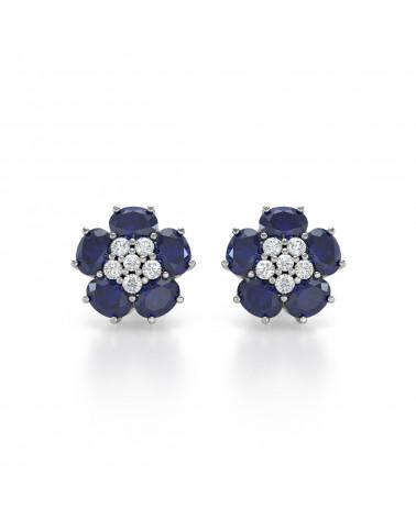 925 Silber Saphir Diamanten Ohrringe