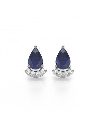 Pendientes Zafiro y Diamantes Plate de Ley 925